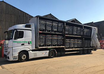 Double Decker Curtain Sider Fully Loaded With Refurbished Wheelie Bins